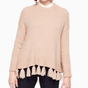 Kate Spade Airy Alpaca Tan Tassel Sweater Small